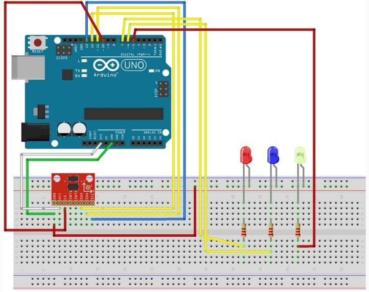 Acelerómetro ADXL335 con Arduino Uno conectado y reflejado en leds - Acelerómetro ADXL335 e Interfaz con Arduino Uno