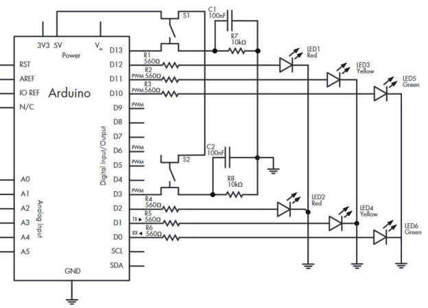 semaforo-arduino-624x450 Construye un sencillo sistema para controlar el tráfico