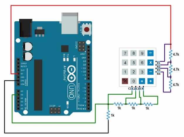 conexiones teclado con Arduino Uno usando una conexión - Teclado 4x4 cómo Interfaz de entrada con Arduino Uno
