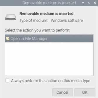 ventana insertar medio - ¿Cómo formatear y montar una unidad USB en Raspberry Pi?