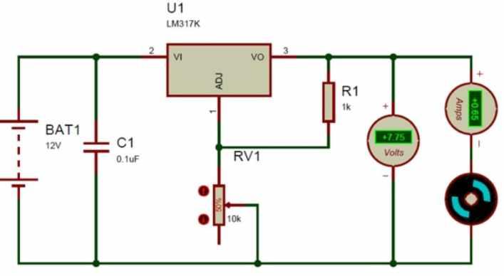 esquema diagrama LM317 - LM317, introducción al regulador de tensión lineal ajustable