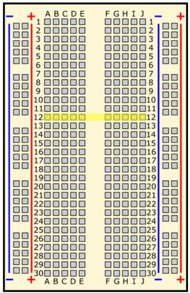protobard fila 12 - Protoboard, ¿Qué es y cómo se usa?