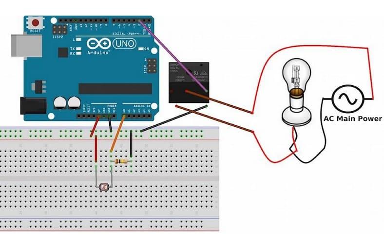 diagrama conexion LDR a Arduino Uno - LDR o Resistencia dependiente de la luz, Light Dependent Resistor