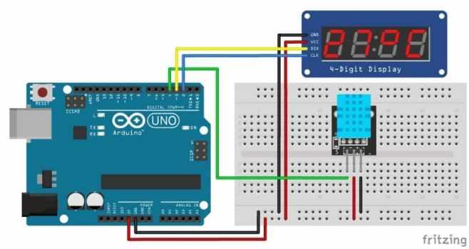 TM1637 con DHT11 - TM1637 Pantalla LED de 7 segmentos de 4 dígitos