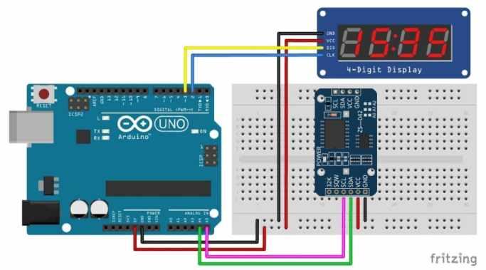 TM1637 con DS3231 RTC y Arduino UNO - TM1637 Pantalla LED de 7 segmentos de 4 dígitos
