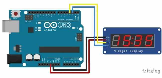 conectar TM1637 a Arduino Uno - TM1637 Pantalla LED de 7 segmentos de 4 dígitos