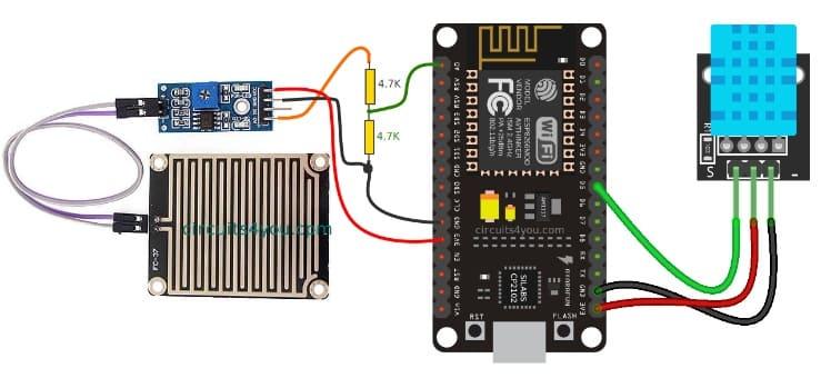 diagrama de conexion NodeMCU - Cómo construir una Estación meteorológica con ESP8266 usando el IDE de Arduino