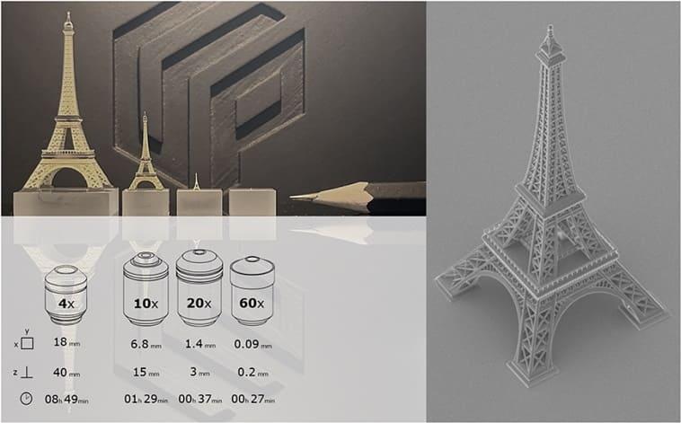 Paris impresion 3d - UpNano imprime en piezas 3D que van desde varios micrómetros a unos pocos centímetros de tamaño