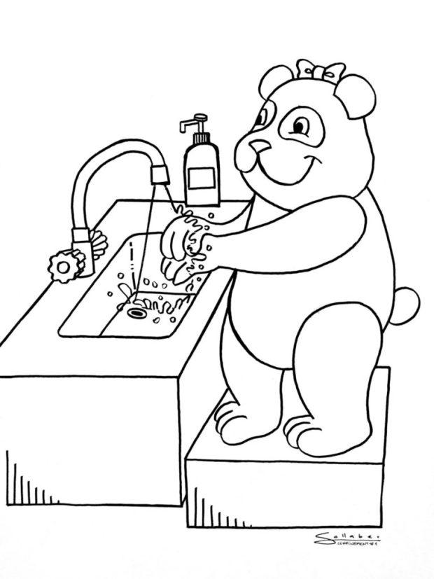 Panda: ¡tienes que lavarte las manos! / Tinta india sobre papel. // Confinement Series # Day 1 - 17 de marzo de 2020