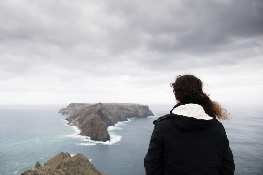 Anna y las Islas Deshertas des del Mirador de las Flores en Porto Santo