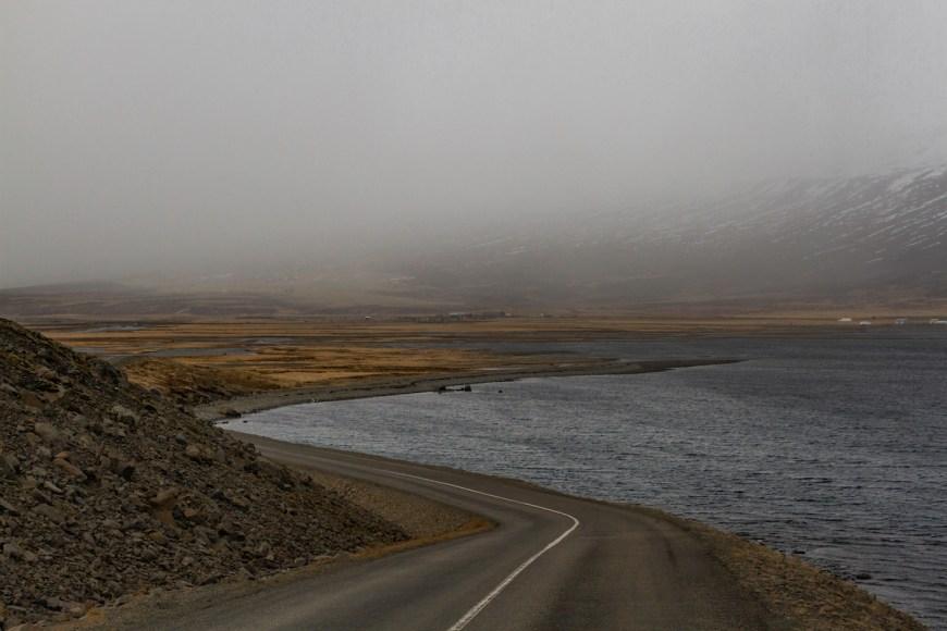 Carretera Islandesa entre la niebla