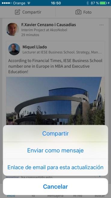 Captura pantalla opción de compartir actualización