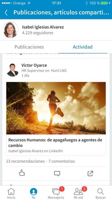 Captura de pantalla de tu actividad en LinkedIn