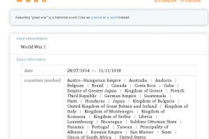 Captura de Wolfram Alpha con búsqueda sobre la Primera Guerra Mundial (Great War).