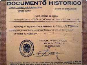 Parte del fin de la guerra civil española