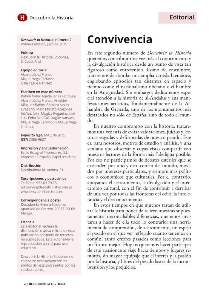 Editorial número 2 Descubrir la Historia.