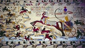 Ahmose I (Dinastía XVIII) derrotando a los hicsos