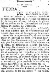 Crónica de 'Fedra', de Unamuno, en el diario 'ABC' el 28 de marzo de 1918