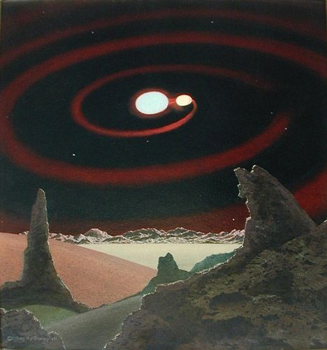 Beta Lyrae, Chesley Bonestell (1960) (Wikimedia).
