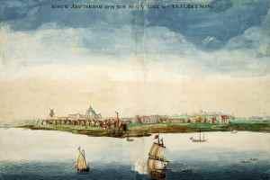 Ilustración de Nueva Ámsterdam por Johannes Vingboons en 1664 (Memory of the Netherlands).