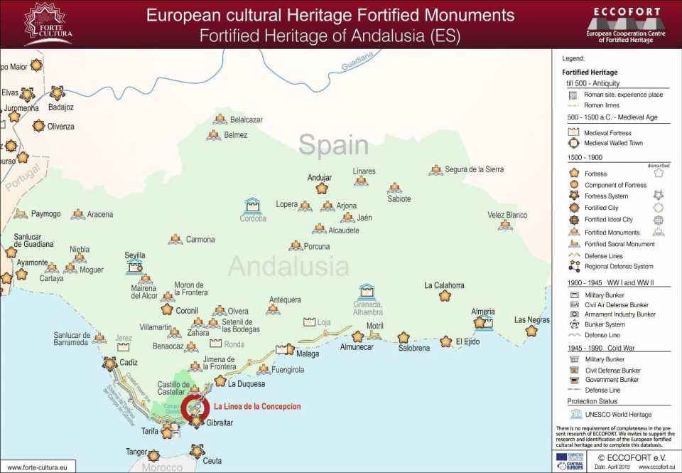 Fortalezas clasificadas por el momento por esta iniciativa en Andalucía.
