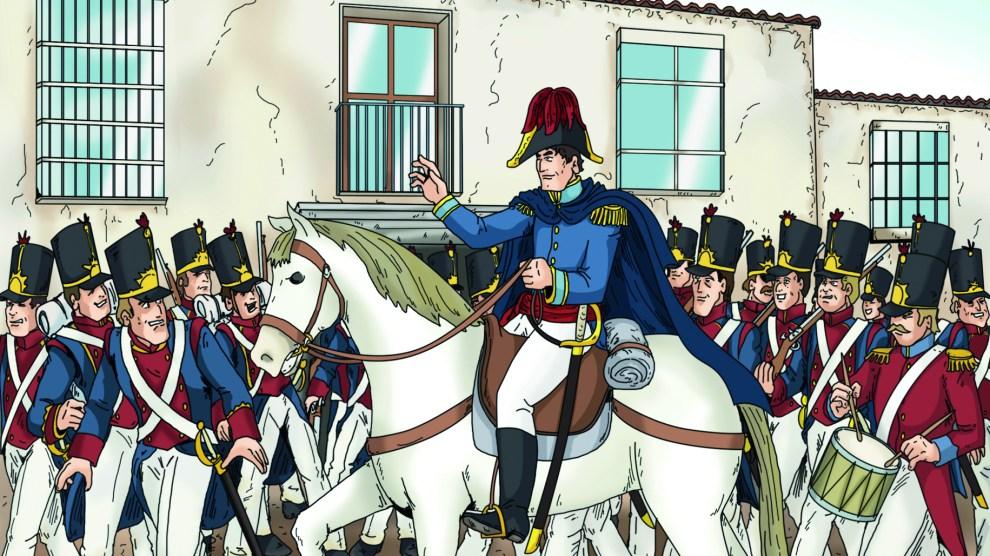 El general Rafael de Riego tras su discurso en Las Cabezas de San Juan. Ilustración de Jesús Sánchez Daimiel.
