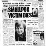 Portada del periódico Birmingham Evening Mail que incluye la información del fallecimiento de Janet Parker por viruela el 11 de septiembre de 1978.
