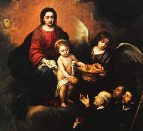 El Niño Jesús repartiendo pan a los sacerdotes (1678) Murillo. Szépmüvészeti Múzeum. Budapest (Wikimedia).