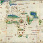 Planisferio de Cantino (1502), representación cartográfica de la línea de demarcación entre los territorios de España y de Portugal acordados en el Tratado de Tordesillas (Wikimedia).