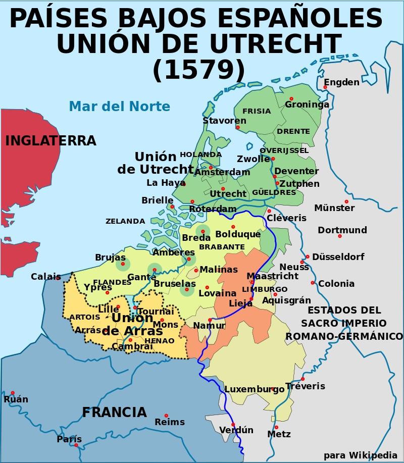 Los Países Bajos en 1579. Unión de Utrecht y Unión de Arras (Wikimedia).