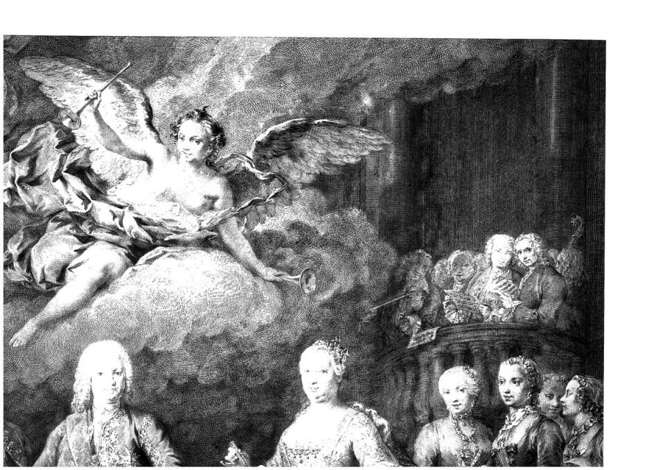 Fragmento de «Fernando VI y Bárbara de Braganza con su corte, 1750-1759». Grabado a buril en 1752 por Charles-Joseph Flipart (1721-1797), por pintura de Jacopo Amiconi (1682- 1752). Real Academia de Bellas Artes de San Fernando.