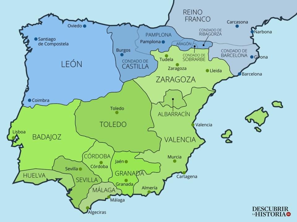 Mapa peninsular en época de Sancho III el Mayor de Navarra primer tercio del siglo XI (mapa de Juan Pérez Ventura).