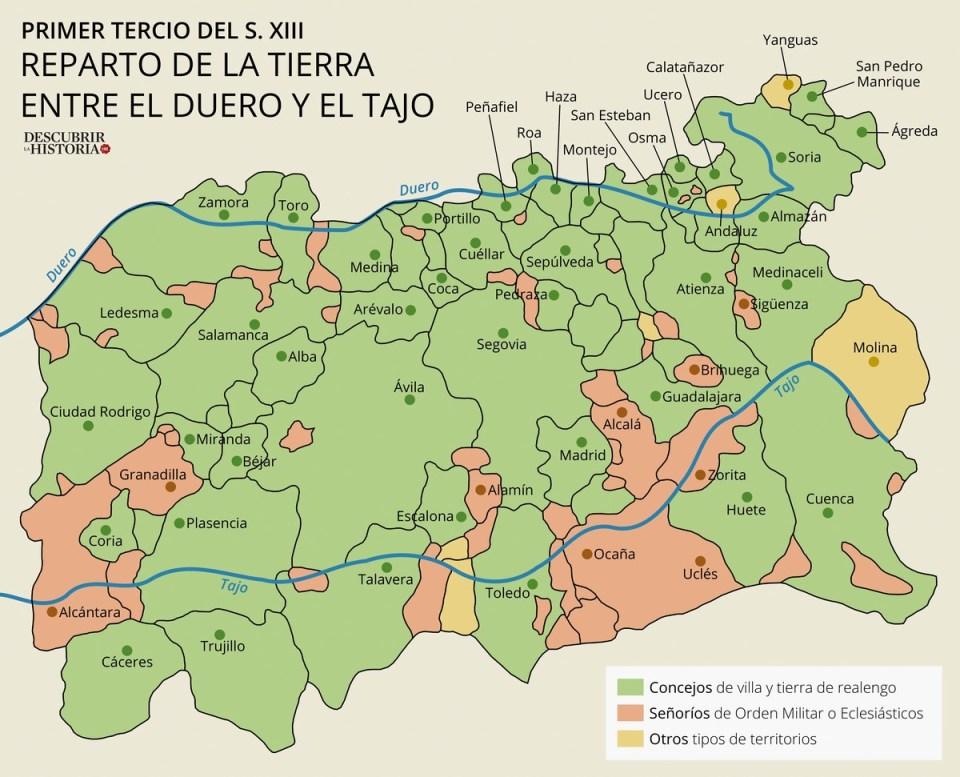 Repoblación mayoritariamente concejil («concejos de villa y tierra») entre el Duero y el Tajo y de señoríos de Órdenes militares en torno al Tajo y el Guadiana, primer tercio siglo XIII (mapa de Juan Pérez Ventura).
