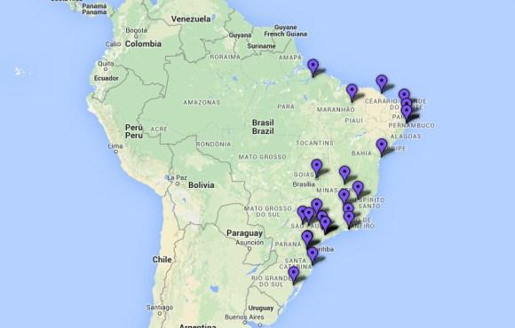 Mapa dos Centros de Implante Coclear no Brasil que atendem pelo SUS