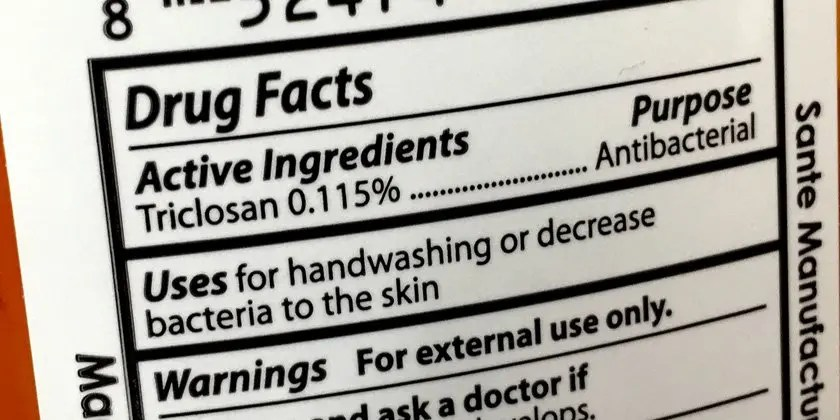 image of triclosan label