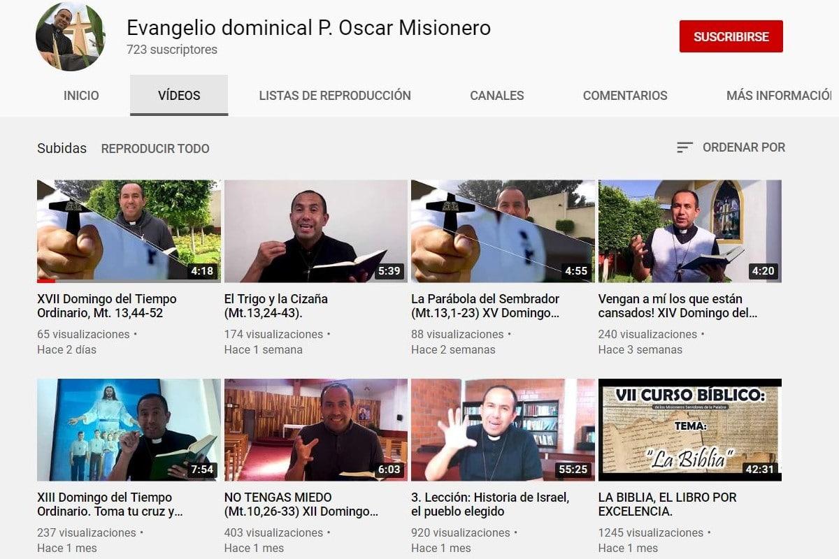 Canal de Youtube del padre Oscar Méndez. Foto: Youtube