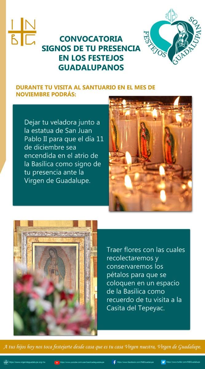 Convocatoria de la Basílica de Guadalupe para los festejos guadalupanos 2020.