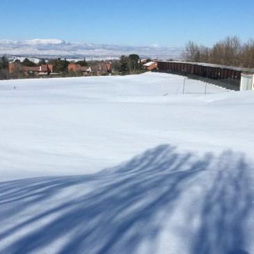 Los campos de golf de Madrid bajo la nieve