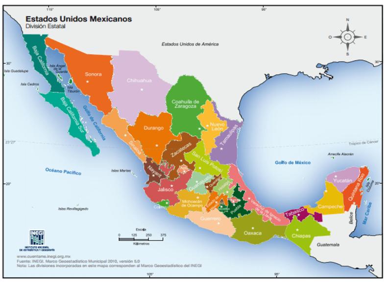 Mapa de México, de www.inegi.gob.mx