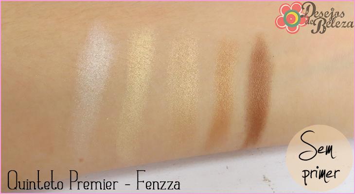 quinteto de sombras fenzza makeup swatch sem primer