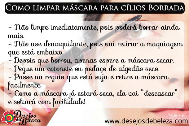 limpar máscara para cílios borrada - resumo - desejos de beleza