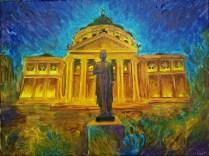 Statuia lui Mihai Eminescu de la Ateneul Roman, pictura acrilice pe panza
