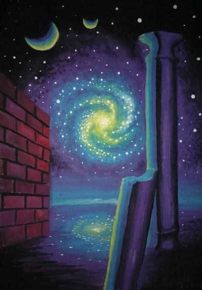 peisaj-de-pe-alta-planeta-la-galaxie-coloana-si-zid-pictura-alien-landscape-with-galaxy-wall-and-column-painting