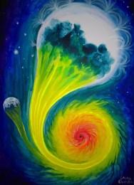 Stea giganta albastra absorbita de o gaura neagra, pictura acrilice pe panza
