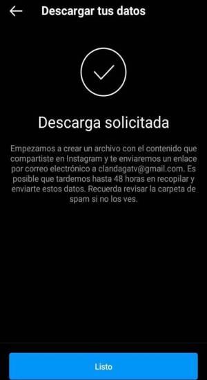 Descargar datos de Instagram