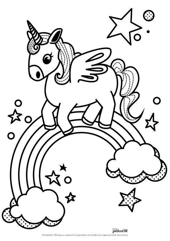 Oi oi lindinhos e lindinhas! Desenho de Unicórnio no Arco-íris – Desenhos para Colorir