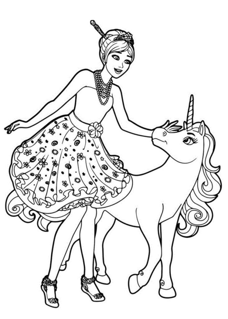 Desenhos e imagens de carnaval para imprimir. Barbie com Unicórnio Mágico – Desenhos para Colorir