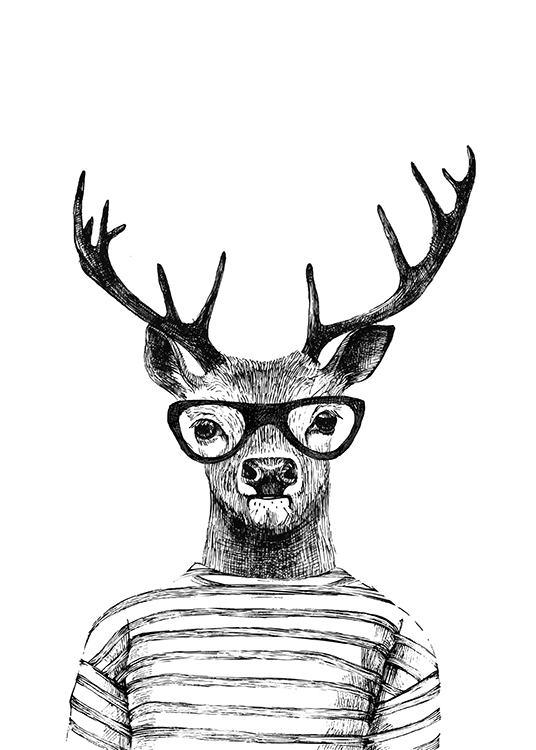Deer Black And White Prints