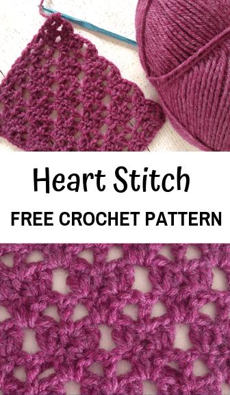 how to crochet the heart stitch—free crochet pattern