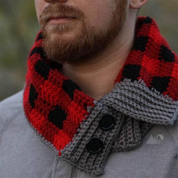 plaid button cowl mens crochet pattern